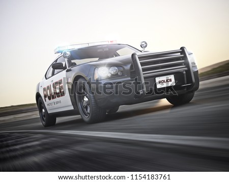 Police car in pursuit with full array of lights. 3d rendering with motion blur