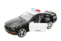 Police car, toy isolated on white background