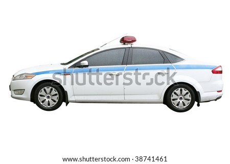 Police car under the white background