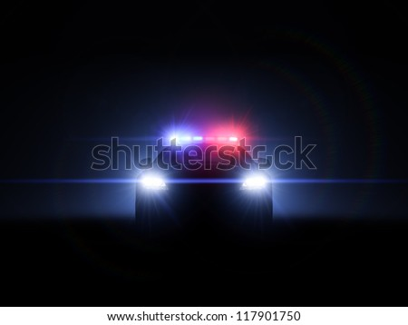 Police car with full array of lights and tactical lights.