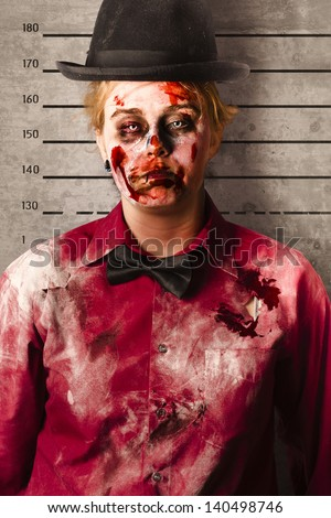 Police criminal mug shot of a female monster with busted up face standing on height record chart. Bleeding guilty