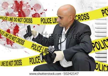 Police CSI investigator with a camera holding a bag with a gun