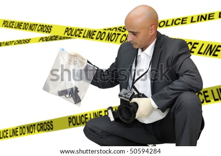 Police CSI investigator with a camera holding a bag with a gun