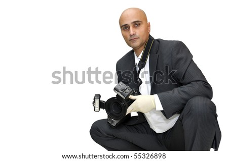 Police CSI investigator with gloves and camera