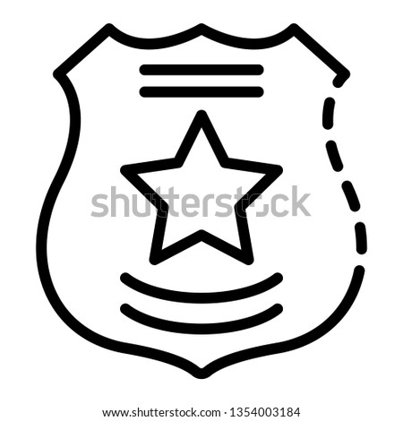 Police emblem icon. Outline police emblem icon for web design isolated on white background