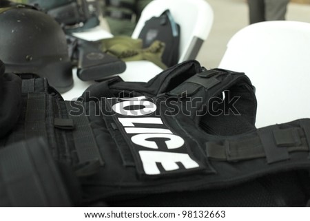 Police Equipment sitting on table for demonstration