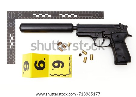 Police evidence of handgun with hand made silencer and ammunition #713965177