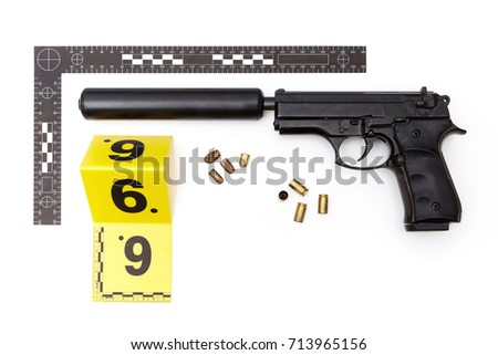 Police evidence of handgun with illegal hand made silencer, cartridges and bullets #713965156