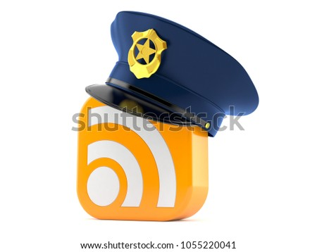 Police hat with RSS icon isolated on white background. 3d illustration