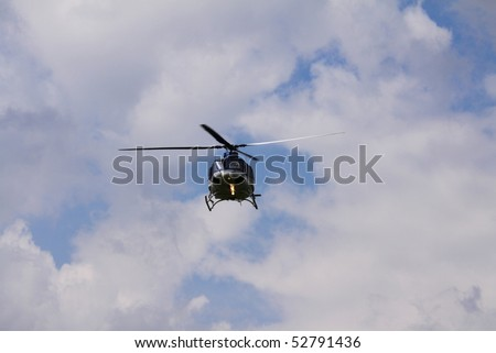 Police helicopter flight to the action