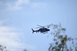 Police helicopter in action to fight crime