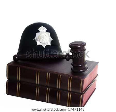 Police Helmet, Gavel And Law Books Symbols Of Law And ...