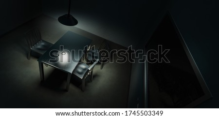 police interrogation room with double sided mirror and dramatic lighting /3D rendering. illustration Сток-фото ©