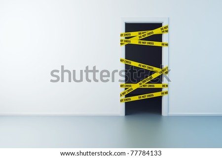 police line on the doorway, 3d rendering