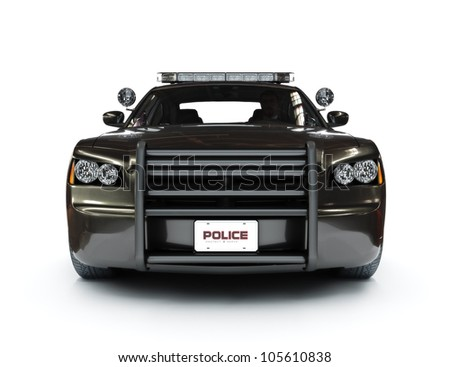 Police modern car on a white background, night version with tactical lights also available.