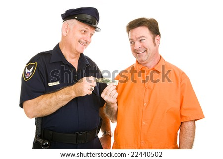Police officer accepts cash bribe from a prison inmate.  Isolated on white.