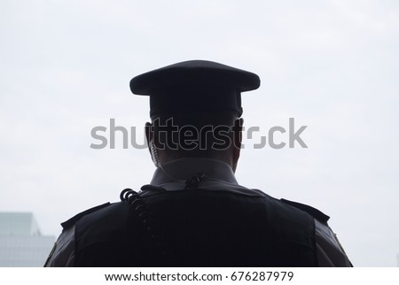 Police Officer, Guard - Detail Of A Police Officer, Uniform, Silhouette, Hat, Security