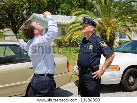 Police officer is skeptical that a motorist can pass the sobriety test.