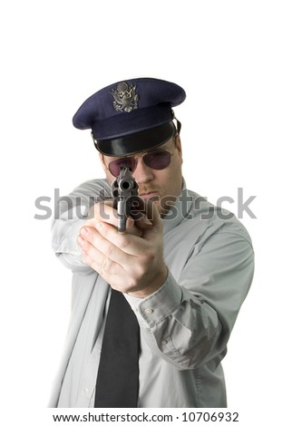 Police Officer with dark glasses and revolver