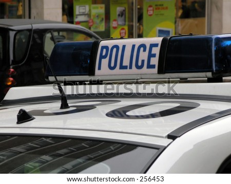 Police patrol car in Leeds city center. (Leeds, Yorkshire, UK). - stock photo