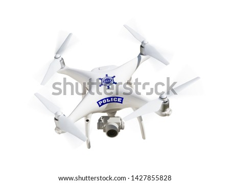 Police Unmanned Aircraft System, (UAS) Drone Isolated on a White Background.