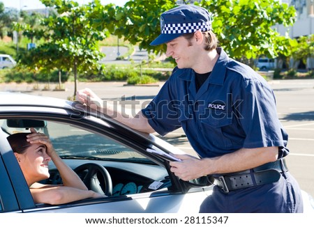 policeman chatting with driver