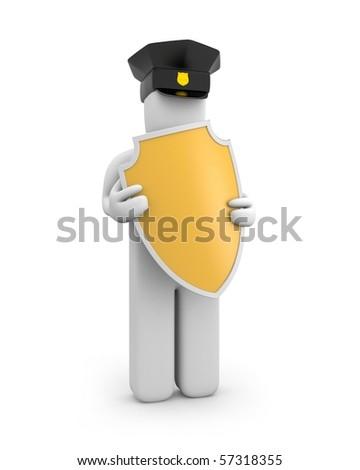 Policeman hold shield - stock photo