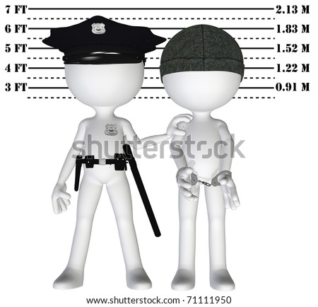 Policeman holds criminal in a lineup mugshot of cop and busted perp