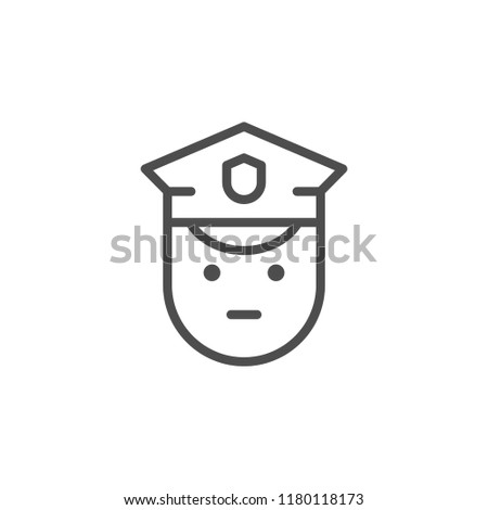 Policeman line icon isolated on white