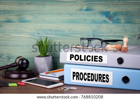 Policies and Procedures. Successful business, law and profit background Stockfoto ©