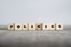 POLICIES word made with building blocks