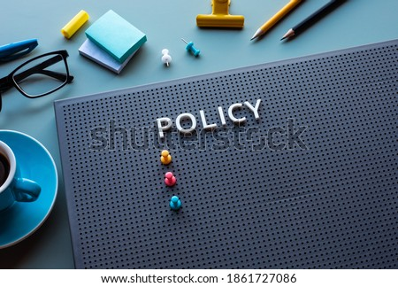 Policy text on desk office.business management and strategy of organization concepts.vision to success Stock photo ©