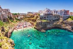 Polignano a Mare, Italy. Summertime beach of Cala Paura in Puglia, Adriatic Sea.