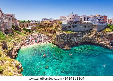 Polignano a Mare, Italy. Summertime beach of Cala Paura in Puglia, Adriatic Sea. Сток-фото ©