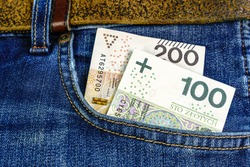 Polish banknotes in jeans trousers pocket
