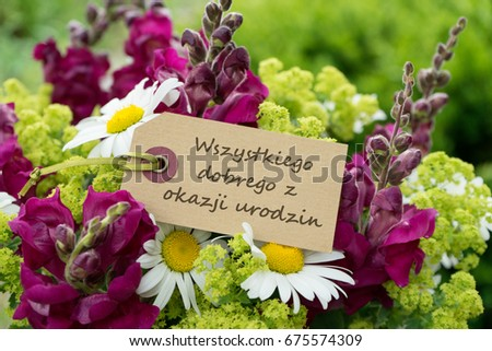 Royalty Free German Birthday Card With Dahlia And 224205016 Stock