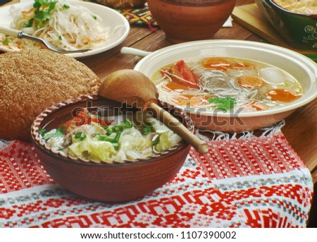 Polish cuisine , Traditional assorted Poland dishes, Top view.