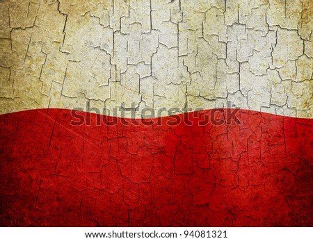 Polish flag on a cracked grunge background