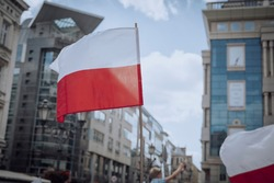 Polish flags supporting President Andrzej Duda during the re-election campaign.