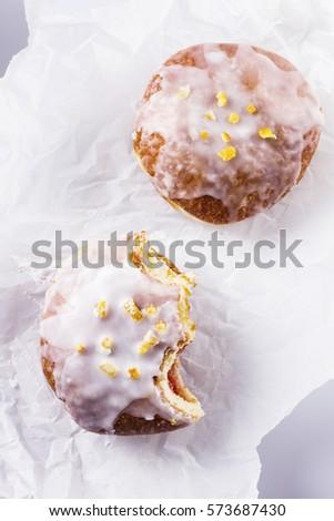 Polish glazed donuts with candied orange peel Zdjęcia stock ©
