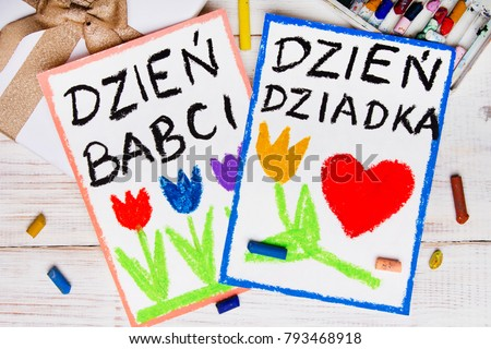Polish Grandfather's Day and Grandmother' Day card. Colorful hand drawing, crayons and gift box. Zdjęcia stock ©