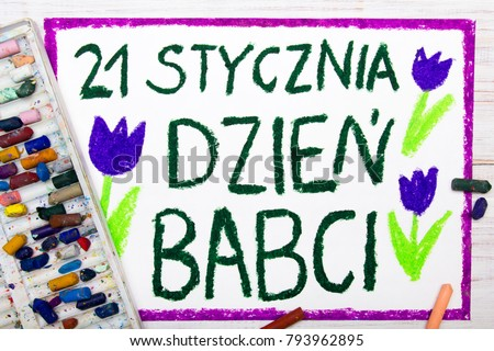 Polish Grandmother's Day card with words: Grandmother's Day. Colorful hand drawing and crayons Zdjęcia stock ©