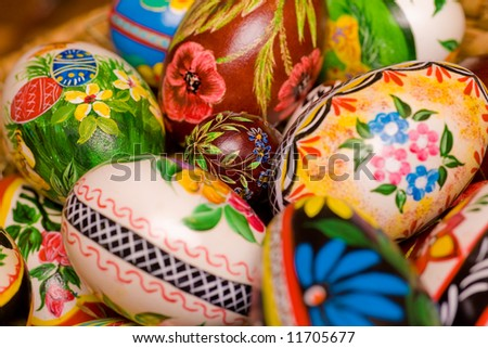 Polish hand painted easter eggs. Shallow depth of field - stock photo