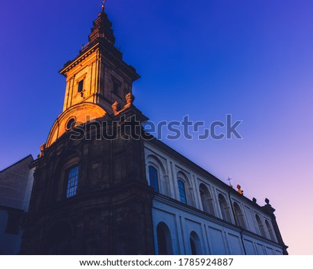 Polish monastery on the hill at sunset Zdjęcia stock ©