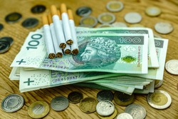 Polish money and cigarettes - excise concept
