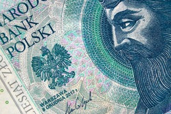 Polish money bill fifty zloty macro with part portrait of King of Poland Casimir III the Great