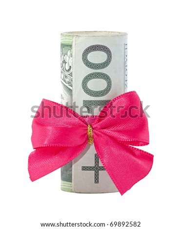 Polish money gift isolated on white