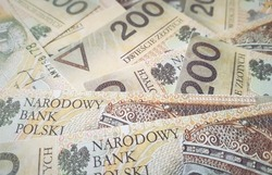 Polish money. Stack of bank note from Poland. 200 zl. Two hundred polish zloty. Polish currency close up. Money exchange.