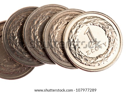 polish money - zloty isolated on white background