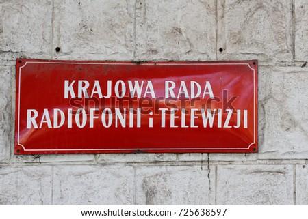 Polish national council of radio and television / Krajowa Rada Radiofonii i Telewizji (KRRiT) Zdjęcia stock ©
